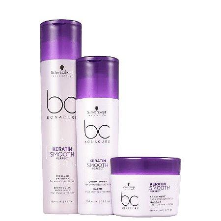 Kit Schwarzkopf BC Bonacure Keratin Smooth Perfect - Shampoo + Condicionador + Máscara