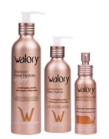 Kit Walory Power Hydrate - Shampoo + Condicionador + Leave-in Shine Hair