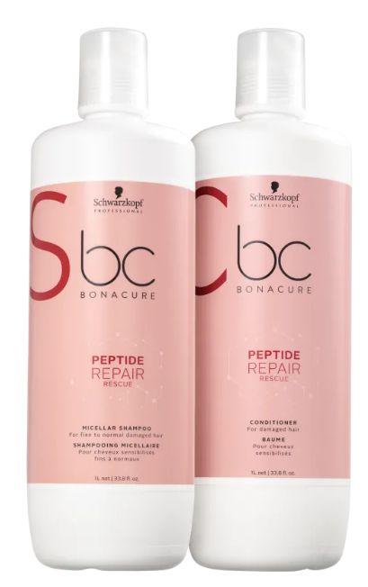 Kit BC Bonacure Peptide Repair Rescue Salon Shampoo e Condicionador de 1000ml Schwarzkopf