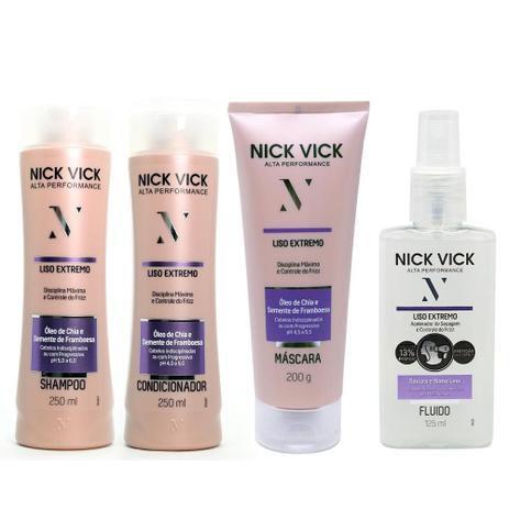 Kit Nick Vick Liso Extremo Shampoo, Condicionador, Máscara e Fluido Acelerador (4 Produtos)