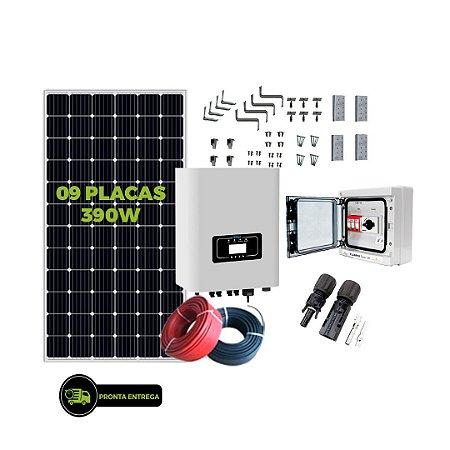 Kit Fotovoltaico 3,51KW - 9PL 390W + 01 INVER 3K