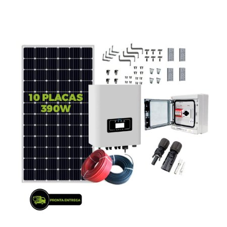 Kit Fotovoltaico 3,90KW - 10PL 390W + 01 INVERSOR HÍBRIDO 3,6K