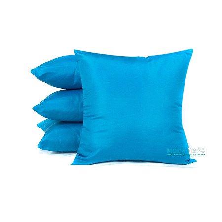 Kit 4 Almofadas Azul Turquesa Lisas Decorativas Para Sofá