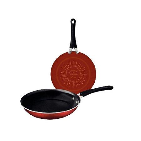 Jogo Frigideiras Tramontina Premium Esmaltado 2 Pçs Vermelho