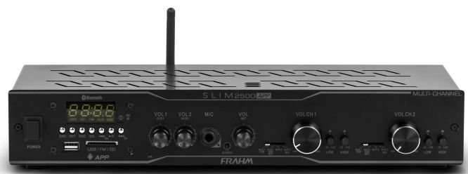 Amplificador Receiver Frahm Slim 2500 App Bluetooth Usb Fm