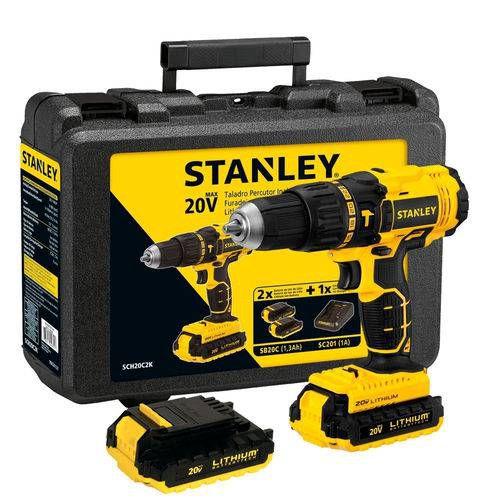 """Furadeira Parafusadeira de impacto 1/2"""" à bateria 20 volts com 2 baterias  SCH20C2K Stanley (110V/220V)"""