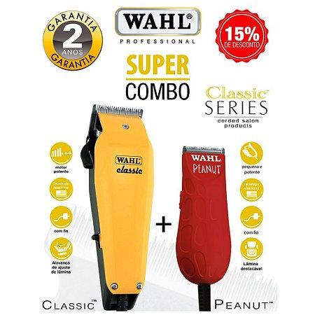 Kit Máquina de Cortar Cabelo Wahl Classic 220v + Maquina de Acabamento Wahl Peanut Bivolt