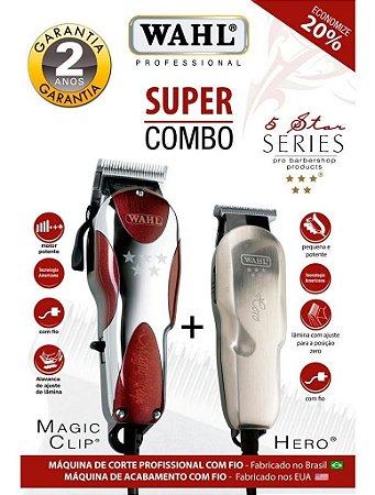 Kit Wahl Combo Magic Clip 220v + Wahl Hero Bivolt Star Series