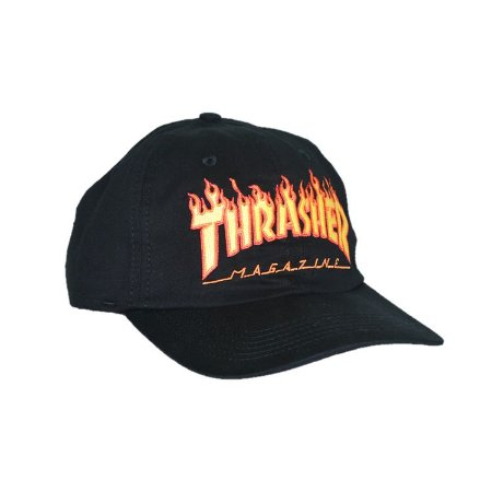 BONÉ THRASHER MAGAZINE FLAME LOGO DAD HAT PRETO