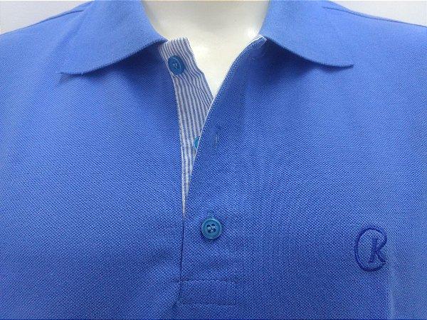 Polo Masculina Azul Detalhe Listra Azul e Branco CK Cekock