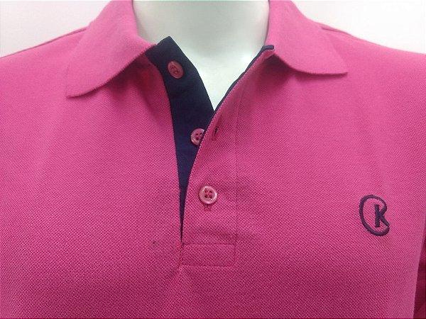 Polo Masculina Pink Detalhe Azul Marinho CK Cekock