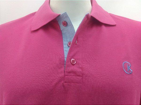Polo Masculina Pink Detalhe Listra Azul e Branco CK Cekock
