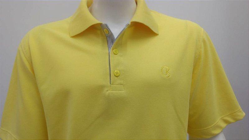 Polo Masculina Amarelo Detalhe Listra Cinza e Branco CK Cekock