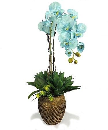 Orquídea Azul com Suculentas no Cachepot Rattan - 70cm