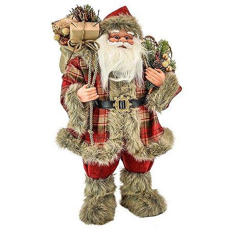 Papai Noel em Pé Xadrez - 60cm