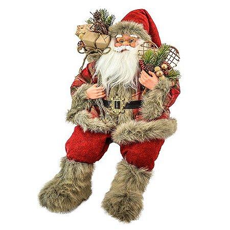 Papai Noel Sentado Xadrez - 30cm