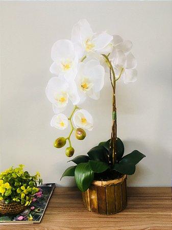 Arranjo de Orquídea no Cachepot de Madeira - 60cm