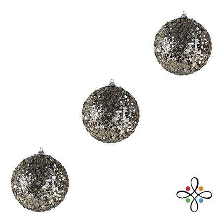 Kit Bolas de Natal Decoradas Champagne - 8cm | 3 unidades