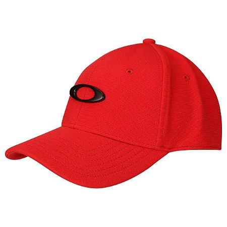 Boné Oakley Aba Curva Tincan Masculino - Vermelho e Preto