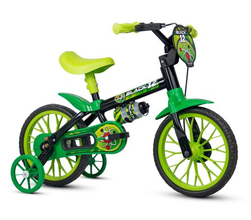 Bicicleta NATHOR Black Aro 12 Preto/Verde