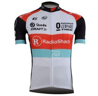 Camisa de Jersey ciclismo RadioShack - Vermelho/Verde/Branco/Preto - Tam. G