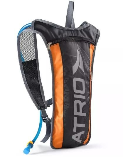 Mochila De Hidratação ATRIO preto/laranja - 2 Litros + Compartimento De Objetos