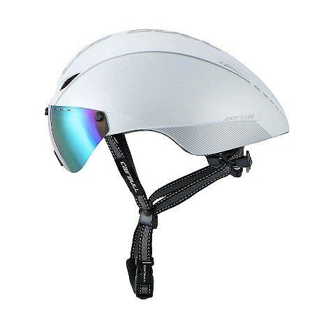 Capacete de Ciclismo CairBull Aero R1 - Branco (Com Viseira)