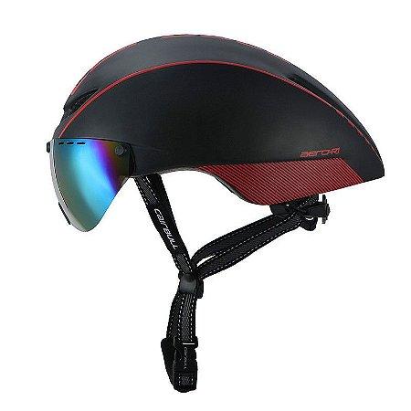 Capacete de Ciclismo CairBull Aero R1 - Preto/ Vermelho (Com Viseira)