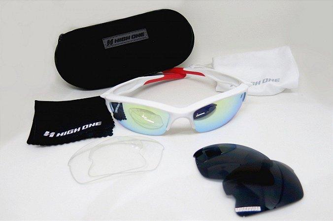 Óculos de Ciclismo High One Iron Branco / Vermelho - (C/ 3lentes)