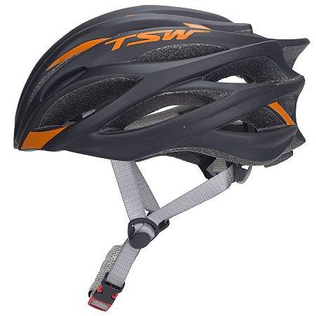 Capacete de Ciclismo TSW Speed Team Preto /Laranja - Tam. M - 7729