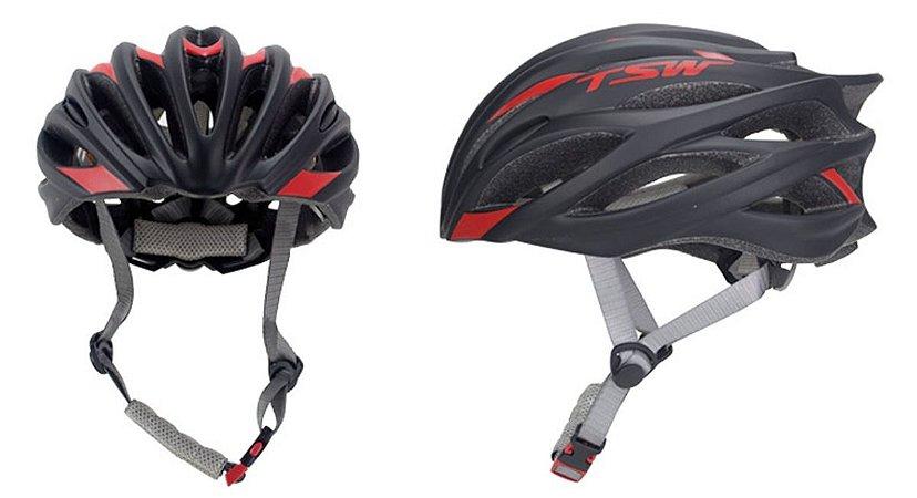 Capacete de Ciclismo TSW Speed Team Preto Vermelho - tam. M - 7730