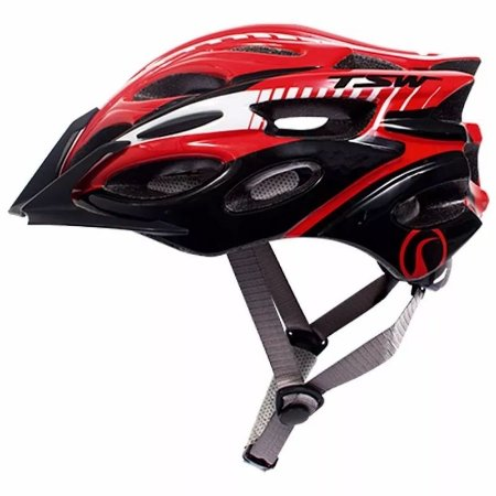 Capacete de Ciclismo TSW MTB Elite Vermelho/Preto/Branco (C/ Viseira)  - Tam. M - 6674
