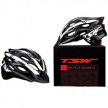 Capacete de Ciclismo TSW MTB Tune Preto/Branco (C/ Viseira) - Tam. M - 10156