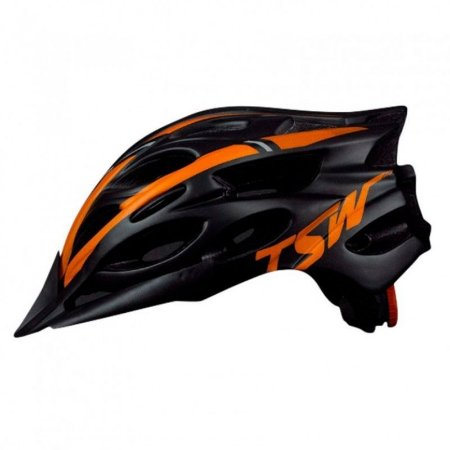 Capacete de Ciclismo TSW MTB Tune Preto/Laranja (C/ Viseira) - Tam. M - 10157