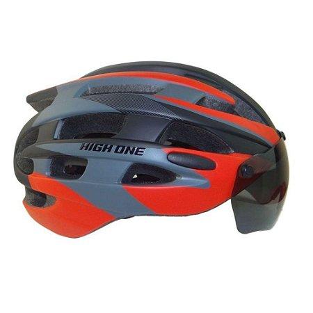 Capacete de Ciclismo HIGH ONE Casco MTB Tam. G - Preto Vermelho - HOCAP0169