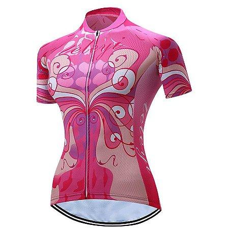 Camisa de Ciclismo WEIMOSTAR  Feminina - M Rosa