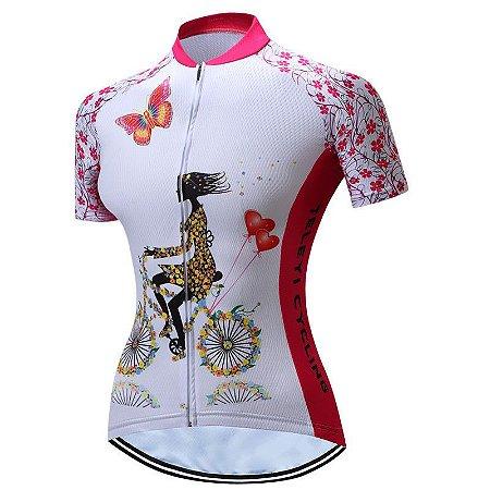 Camisa de Ciclismo WEIMOSTAR  Feminina - M  Branca
