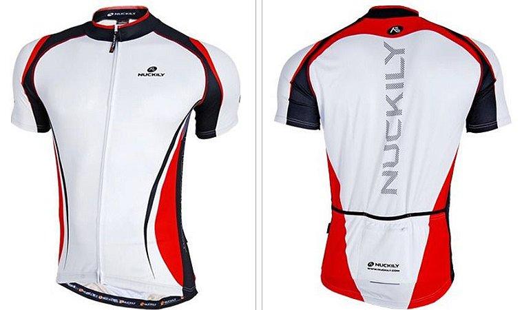 Camisa ciclismo NUCKILY Branco/VERMELHO/PRETO - TAM. GG