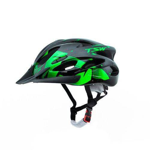 Capacete MTB TSW Médio Raptor 2 Led com viseira - Preto/Verde