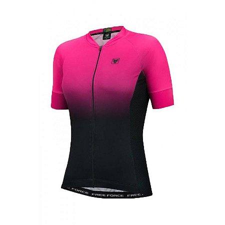 Camisa Ciclismo Feminina FREE FORCE Sport Dual Preto/Rosa  G