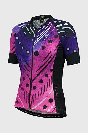 Camisa Ciclismo Feminina FREE FORCE Sport Plume Preto/Rosa G
