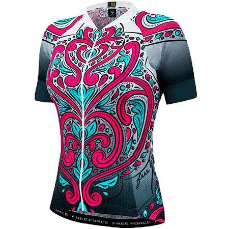 Blusa Ciclismo Feminina FREE FORCE Sport Paradise Preto/Branco - TAM. G