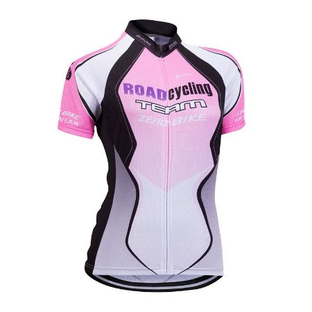 Camisa Ciclismo Feminina ZERO BIKE Branco/Rosa - TAM. G