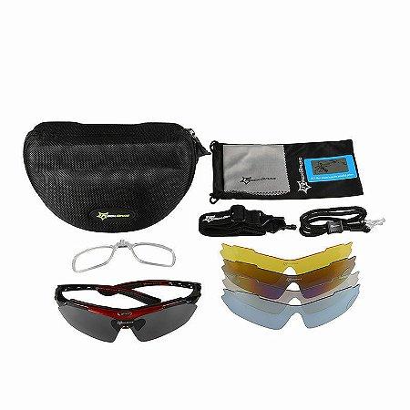Óculos de Ciclismo ROCKBROS Vermelho - Kit com 5 Lentes