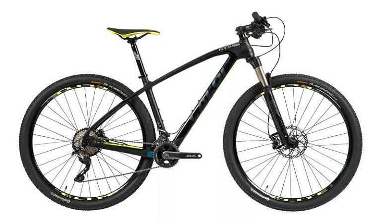 """Bicicleta CALOI Elite Carbon Sport 29"""" 22V Preto/Amarelo - M"""