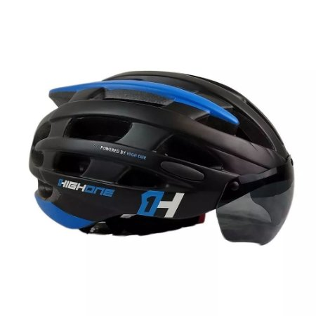 Capacete HIGH ONE Bike MTB Casco New com Oculos Preto/Azul