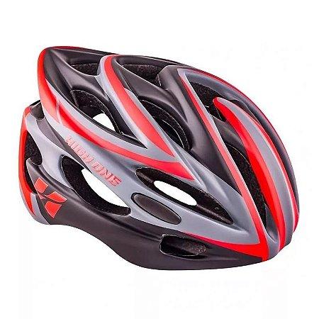 Capacete HIGH ONE Bike New com Luz Cinza/Vermelho - Tam. M