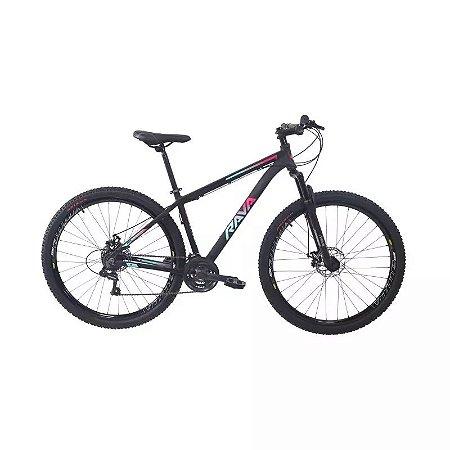 Bicicleta RAVA Pressure 2020 Aro 29/21V Preto/Rosa/Azul - Tam. 17