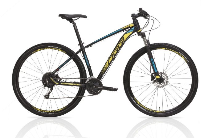 Bicicleta OGGI Big Wheel 7.0 Aro 29/21V Preto/Amarelo/ Azul - Tam. 17