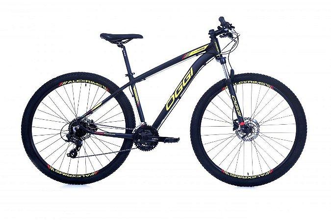 Bicicleta OGGI Hacker HDS Aro 29/24V Preto/Amarelo/Vermelho - Tam. 17